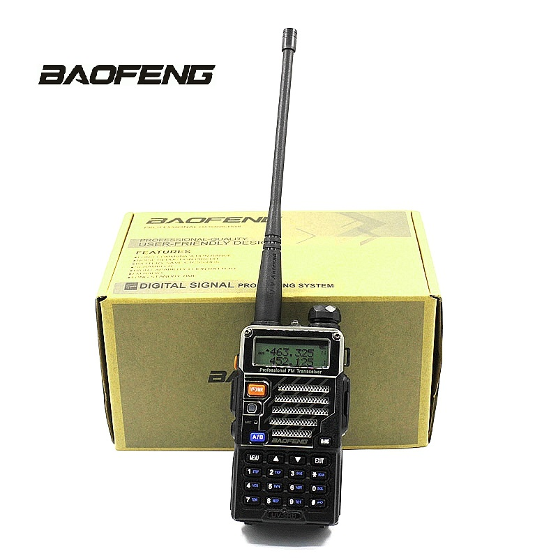 Baofeng UV-5RB 2 Way Radio Handheld Scanner for Police Fire Outdoor Sports & Gain F-Antenna & PTT Earpiece Portable Transceiver