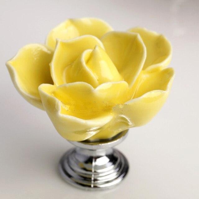 6 stücke Gelbe Rose Blume Griffe Ceramic Knopf Baby Kabinett Knöpfe ...
