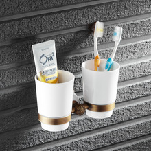 European Style Luxury BrassToothbrush Holder Tumbler Holder Double Cup Holder Bathroom Accessories OB91-09