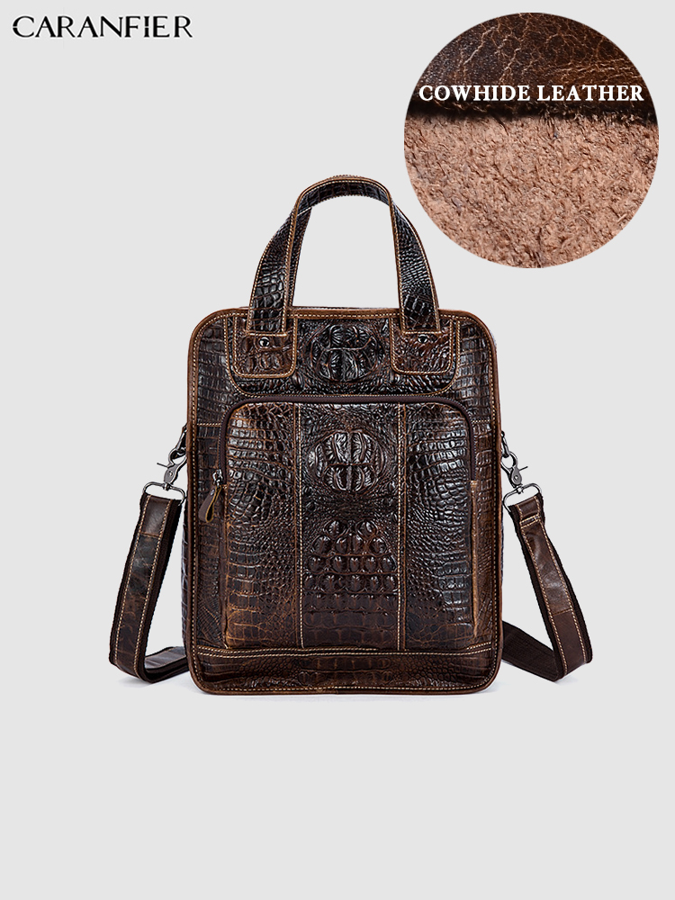 CARANFIER Mens Backpacks Alligator Pattern Mens Shoulder Bags Travel Bags Genuine Cowhide Leather Business Crossbody School