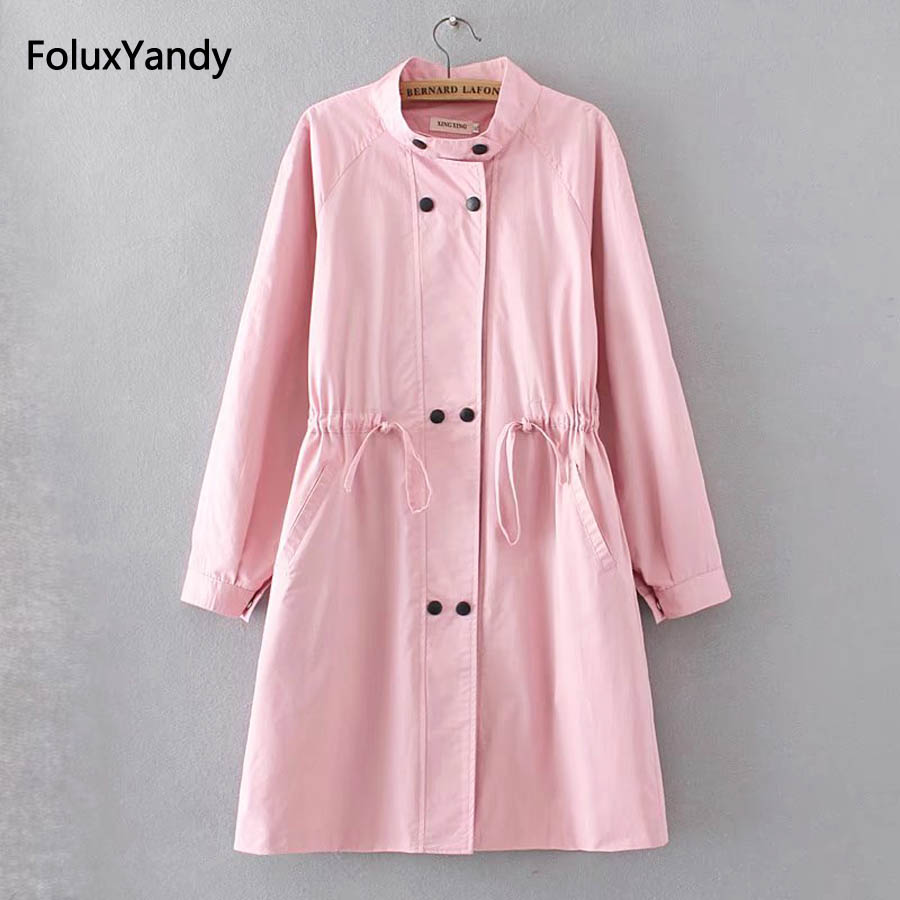 Turtleneck Trench Coat for Women Plus Size 3 XL Casual Double Breasted Loose Long Trench Pink Green Black Outerwear KKFY726