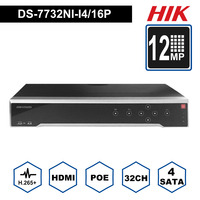 Hik Original DS 7732NI I4/16P Video recorders 32 Channel ALARM NVR with 4 SATA and 16 POE HDMI up to 4K ANR 16 camera DVR