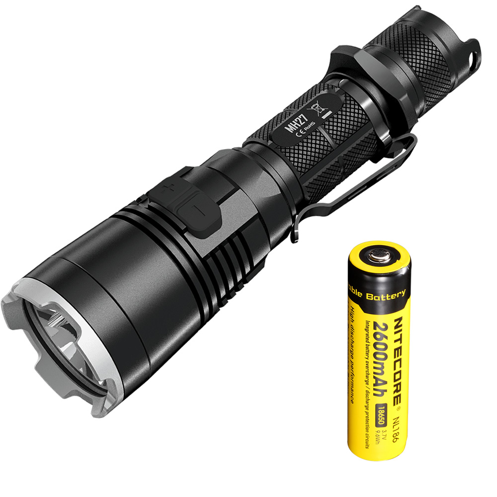 NITECORE CREE XP-L HI V3 1000LM RGB LED High Bright Waterproof Torch MH27 Rechargeable Flashlight+2600mAh Battery+Free Shipping nitecore mh20 with 3200mah battery 1000 lumens cree xm l2 u2 led rechargeable mini flashlight waterproof led torch free shipping