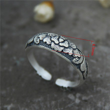 990 Sterling Silver Black Unique Rings Personality Lotus Thai Old Retro Open Ring for Women Jewelry