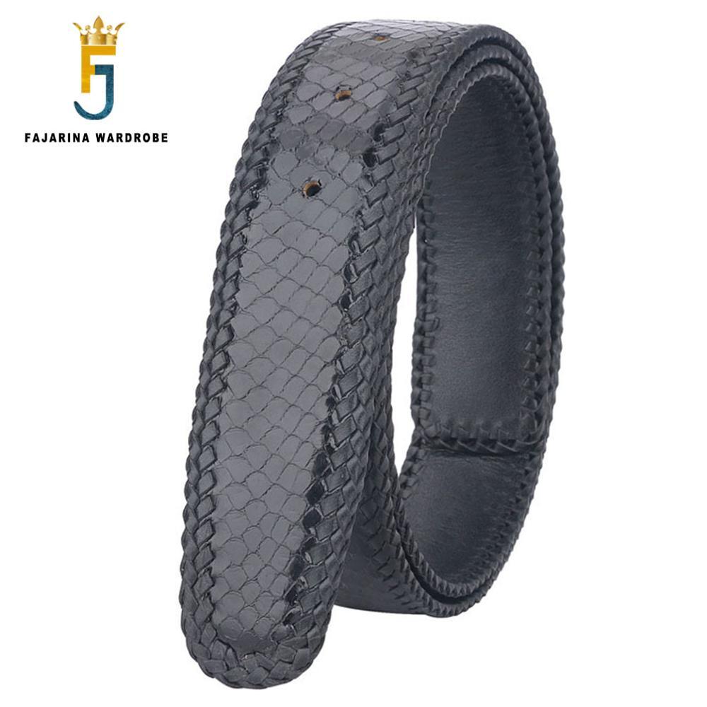 FAJARINA di Alta Qualità Vera Pelle di Serpente Cinture In Pelle per Gli Uomini Tessuto Linea di Cinghie Cintura 3 Colori Opzionale Senza Fibbia N17FJ340