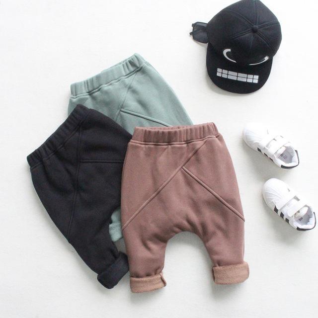 Al por mayor nuevo 2016 niños pantalones otoño Caliente y el invierno bebé niños y niñas costura espesar pantalones Harlan