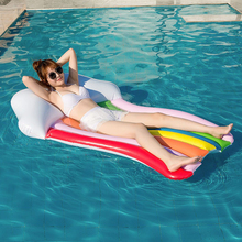 Summer Swim Pool Floating Inflatable rainbow Air Mattress Fun Toys Row Bed Adult Float Swimming Circle