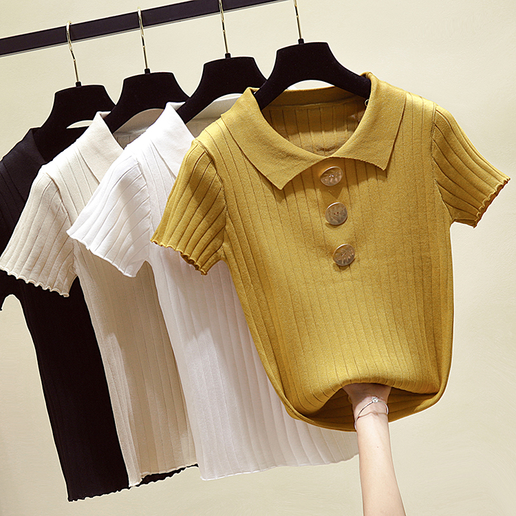 Women Knitting Short Sleeve Buttons Sweaters Pullovers Shirts Girls Knitted Tops Knitwear Clothing Woman