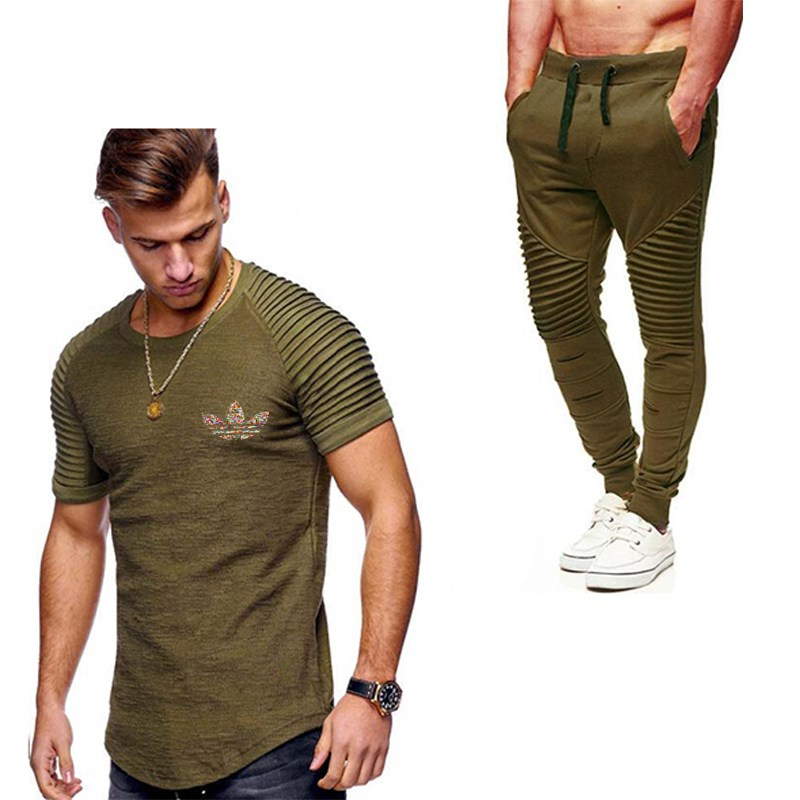 2019 Summer Men Pleated T Shirts+Pants Sets Tide Brand Hot Sale Cotton Comfortable Short Sleeve Tshirt Men Casual Set Pant