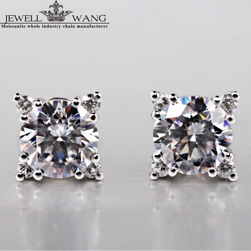 JEWELLWANG Moissanite Stone Stud Earrings Cross Starlight 0.5CT Certified 18K White Gold Stud Earrings for Women/Men Fine Gift