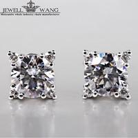 Jewellwang Муассанит камень Серьги гвоздики крест Starlight 0.5ct CERTIFIED 18 К белого золота Серьги гвоздики для Для женщин/Для мужчин прекрасный подарок