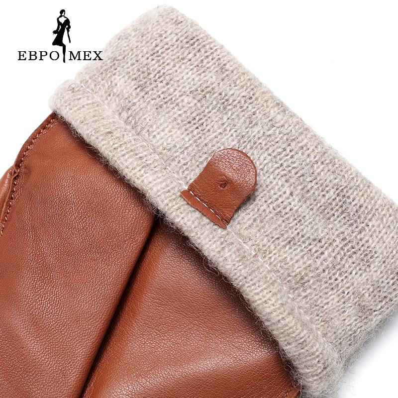 Guantes de cuero genuino de calidad superior guantes de cuero de moda para hombre guantes de conducción Vintage guantes cálidos de invierno piel de cordero marrón - 5
