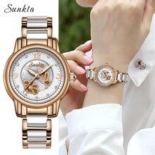 SUNKTA ריינסטון רוז זהב למעלה מותג יוקרה שעונים נשים ספורט עמיד למים לצפות אופנה מזדמן לצפות Zegarek Damsk