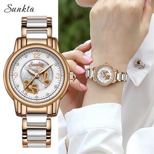 Image 1 - Sunkta 라인 석 로즈 골드 브랜드 럭셔리 시계 여성 스포츠 방수 시계 패션 캐주얼 시계 여성 시계 zegarek damsk