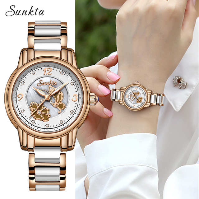 Sunkta 라인 석 로즈 골드 브랜드 럭셔리 시계 여성 스포츠 방수 시계 패션 캐주얼 시계 여성 시계 zegarek damsk