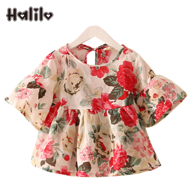 ea9606118e US $7.3 35% OFF|Halilo Girls Party Blouse Top Shirt Floral Print Baby Girl  Clothes Girls Summer Blouse Short Sleeve Kids Shirt Children Clothing-in ...
