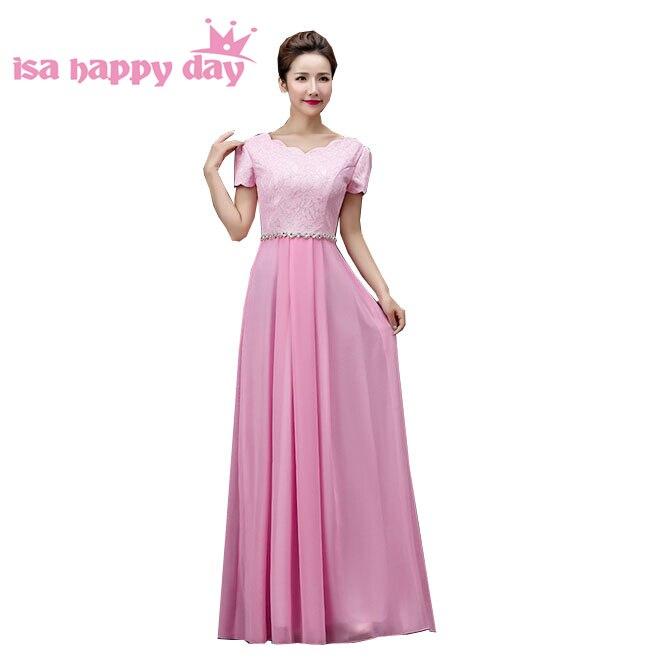 Nouveauté 2019 sexy plu taille bleu royal modeste rose clair à manches courtes tenue formelle en mousseline de soie robes de retour H3118