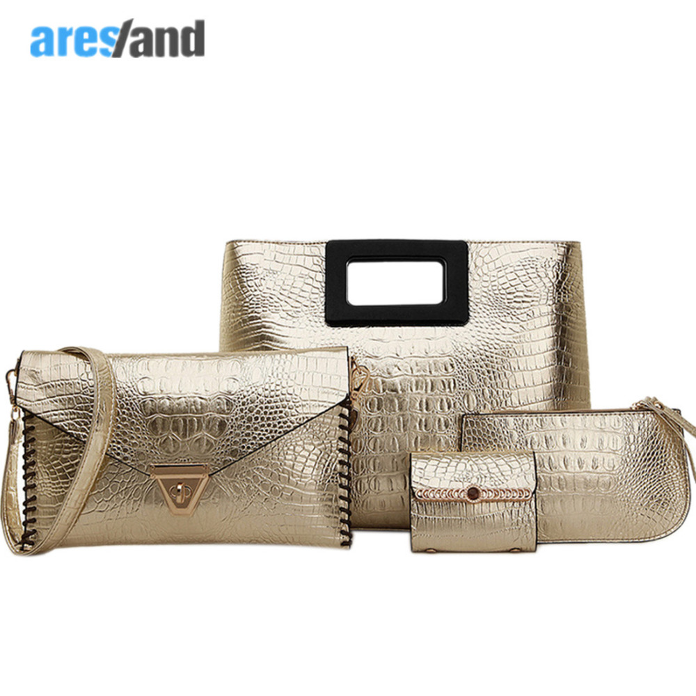 4PCS Fashion Women Bag Set Alligator PU Leather Women'S Handbag Tote Composite Lash Packages Bolsas Femininas Sizes