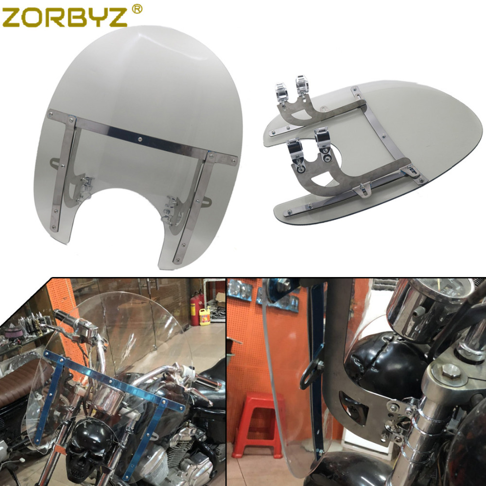 ZORBYZ Motorcycle Deflector Windshield Windscreen With 33 43mm Front Fork Tube Mount For Harley Honda Victory