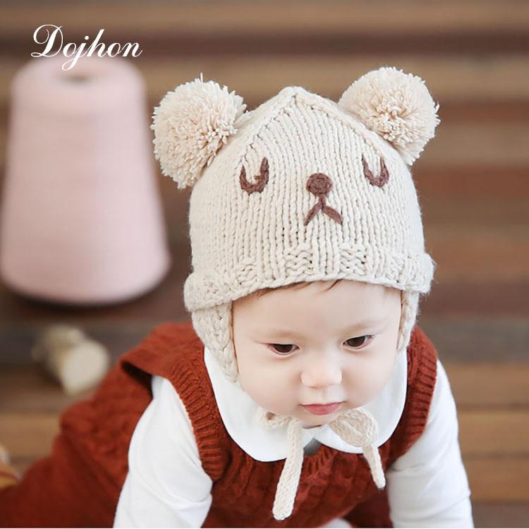winter warm handmade sweater baby hats for girl cute bear. Black Bedroom Furniture Sets. Home Design Ideas