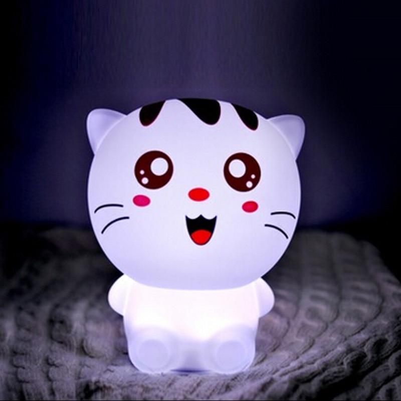 USB Silikon niedlichen//glückliche Katze bunte wechsel LED Tier Nachtlicht lampe Weichen Cartoon Baby Kinderzimmer Lampen spielzeug weihnachten urlaub geschenk