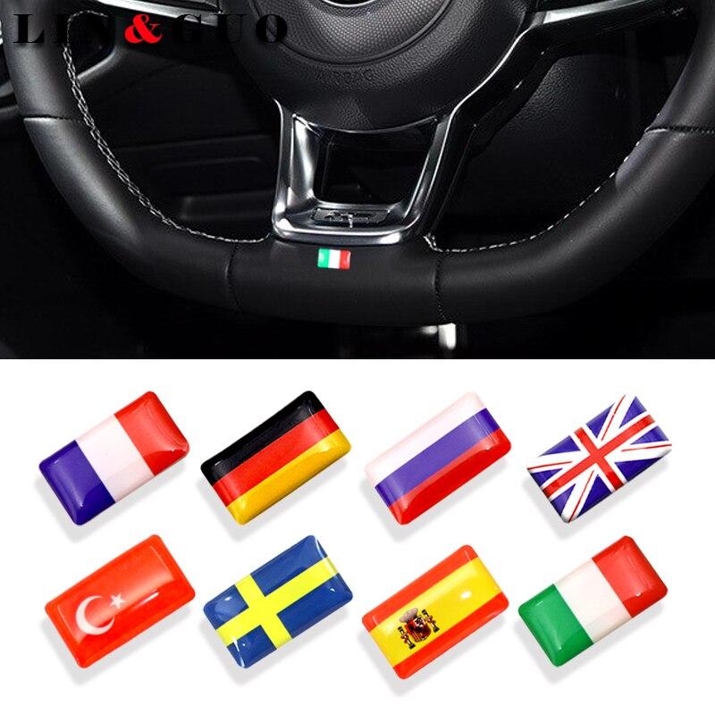 8 шт. рулевое колесо 3D Смола стайлинга автомобилей аксессуары подходят для России, Германии, Великобритании, Италия, Испания, Швеция, Национа...