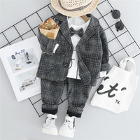 Boys Suits Set Formal Clothes Autumn Winter Long Sleeves Shirts Coat Thick Pants 3pcs Newborn Baby Blazers Infant Clothing Suit
