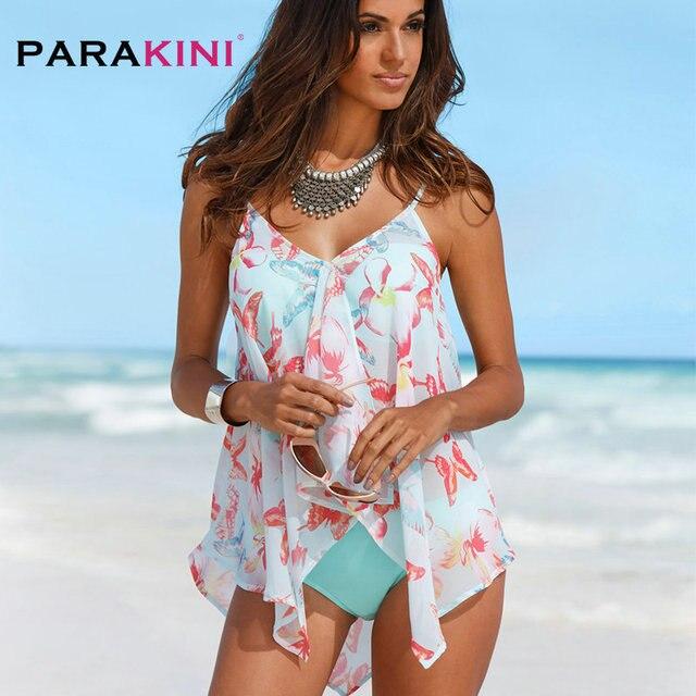 PARAKINI Tankini Bikini Set 2018 Plus Size Swimsuit Women Swimwear Shorts  Bathing Suit Retro Printed Suit Push Up Beachwear 4e68d3cdbefe