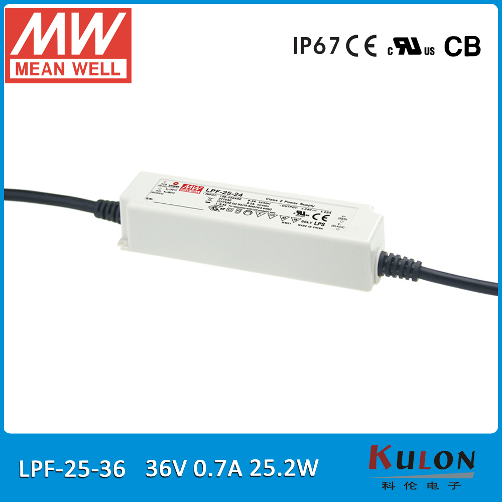 все цены на Original Meanwell LPF-25-36 25W 0.7A 36V led Power Supply waterproof 36V 25W IP67 with PFC онлайн