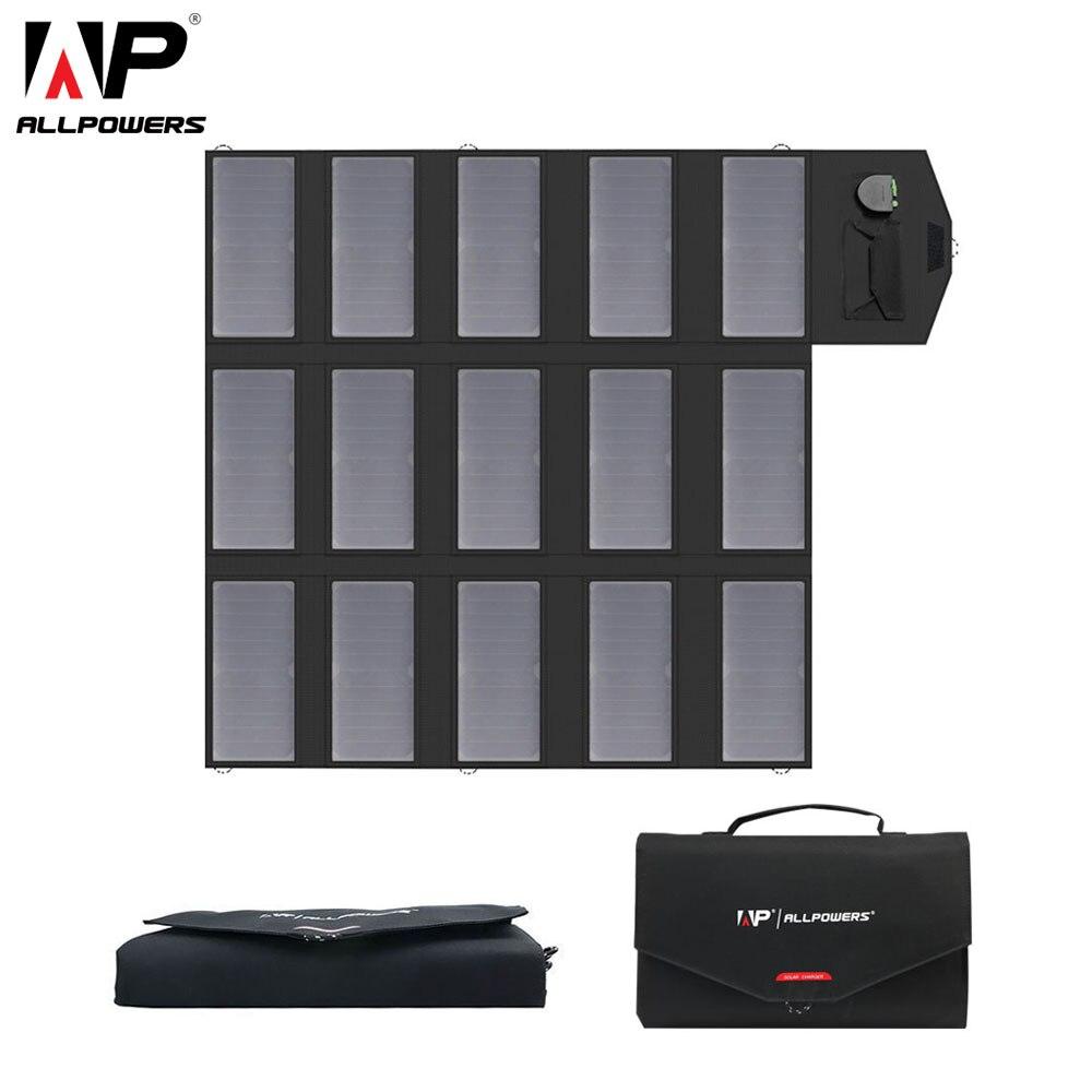 Allpowers painel solar portátil 100w 18v 12v 5v dobrável carregador de telefone celular solar usb carregador de banco móvel portátil portátil tablet