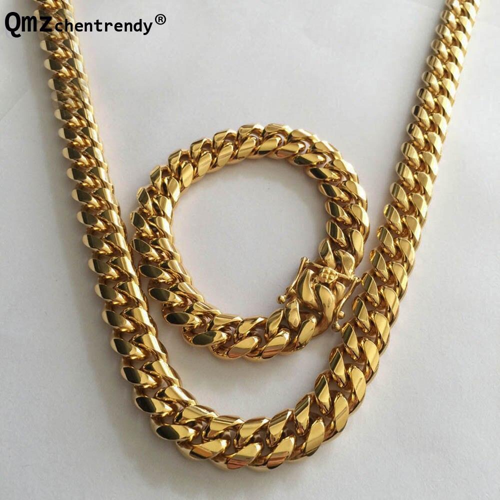 Qmzchentrendy 14mm acier inoxydable gourmette chaîne cubaine collier Bracelet garçons hommes mode chaîne Dragon fermoir lien bijoux ensembles