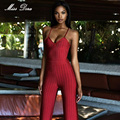 2016 new winter Women Bandage Jumpsuit red striped spaghetti strap V neck full length jumpsuit Rompers celebrity party Bodysuit
