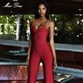 2016 novos inverno Mulheres Bandage Macacão vermelho listrado spaghetti strap V neck corpo inteiro jumpsuit Rompers celebridades partido Bodysuit