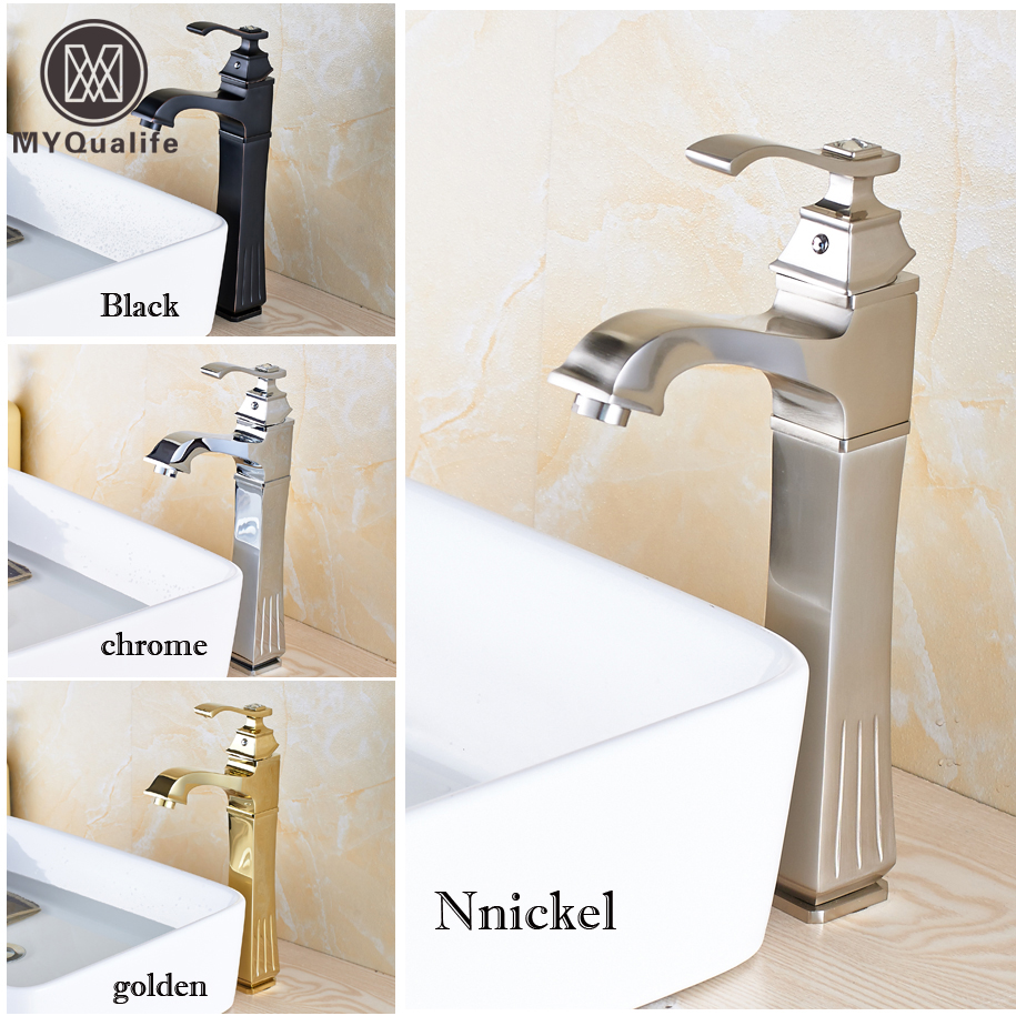 High Quality Brushed Nickel Basin Faucet One Handle Hole Bathroom Sink Mixer Taps Countertop Deck Mounted 2016 new arrival best quality single handle single hole brushed nickel water countertop faucet