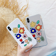 цена на White candy flower clear TPU case for iphone XSMax X XR XS Transparent floral cute funda for iphone 6 6s 7 8 plus plant coque 10