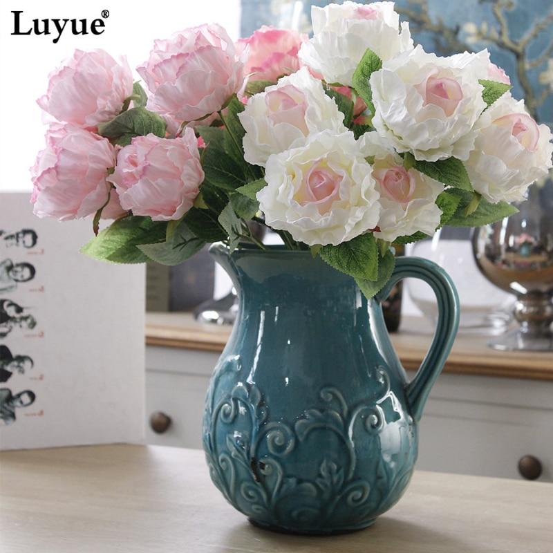 ̀ •́ Luyue 7 Heads Artificial Rose Peony Bouquet Flower Wedding ...