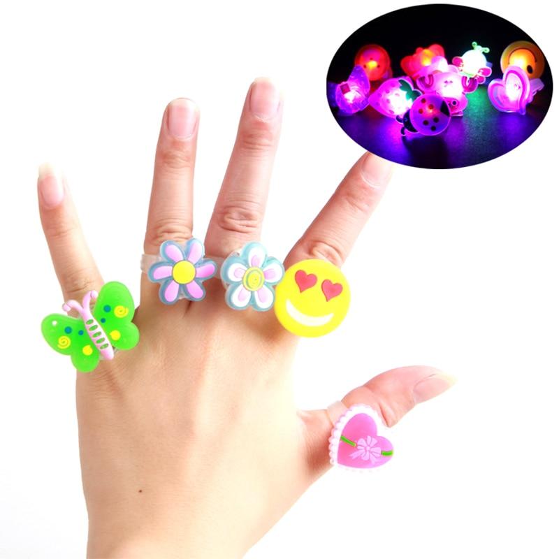 5 pieces Novelty Gag Toys Light-Up Toys LED Luminous ring Finger toys Joke gadget Halloween toys brinquedos kids flashing toy