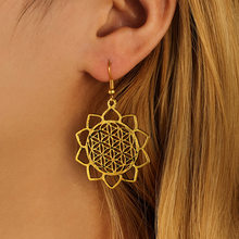 Personality Minimalist Hollow Lotus Flower Earrings For Women dangle Jewelry(China)