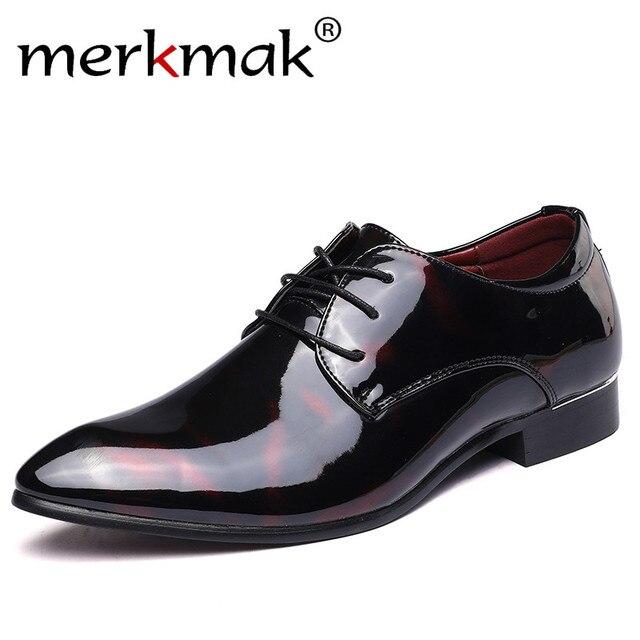 Merkmak/кожаные туфли-оксфорды для Мужские модельные туфли Мужская деловая обувь Острый носок Бизнес Свадебная итальянская обувь плюс Размеры 49 50