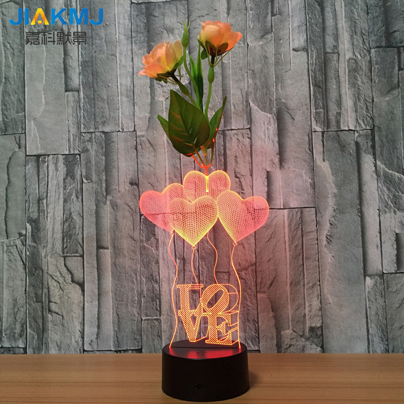 New seven-color LOVE balloon flower arrangement 3d lamp remote control touch acrylic creative gift led night light USB dry batte