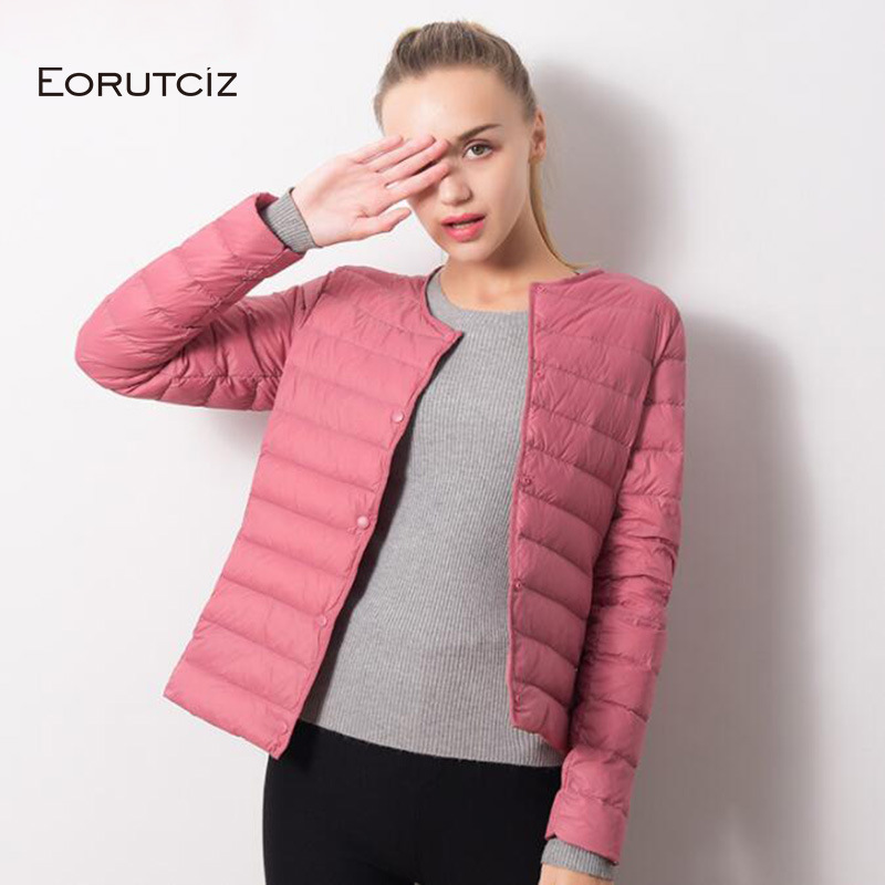 EORUTCI Winter Plus Size 4XL Down Coat Women Short Ultra Light Jacket Warm Vintage Black Autumn Duck Down Coat LM115