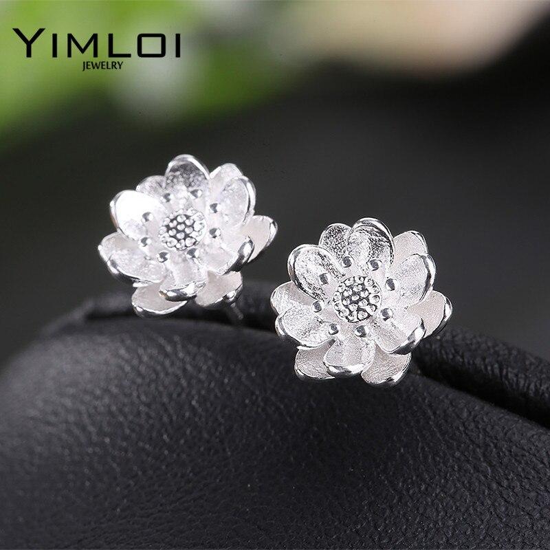 Модные серебряные серьги Plata серьги цветок лотоса ювелирные изделия Pendientes Brincos модные украшения E348