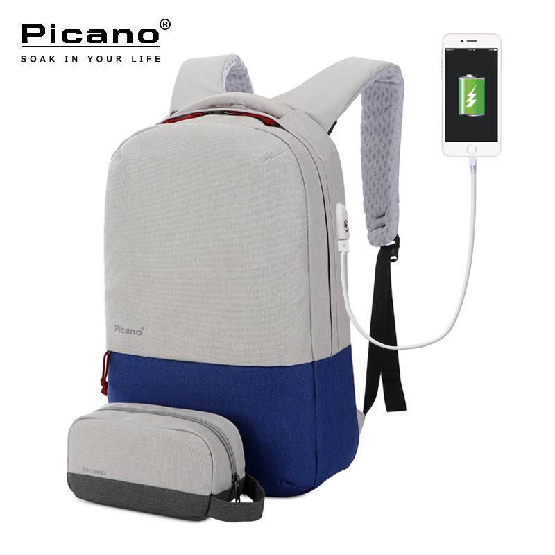 Picano Combined Bags 1 Usb Charging Backpack 1 Multifunction Smartphone Pocket Women Men Business 15 6
