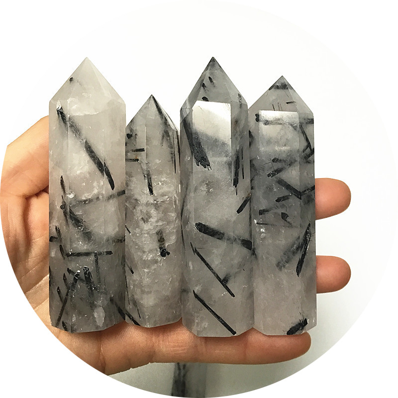 Natural Six prism Black hair quartz crystal quartz wand for healing crystal Single tip terminated points healing crystal wand