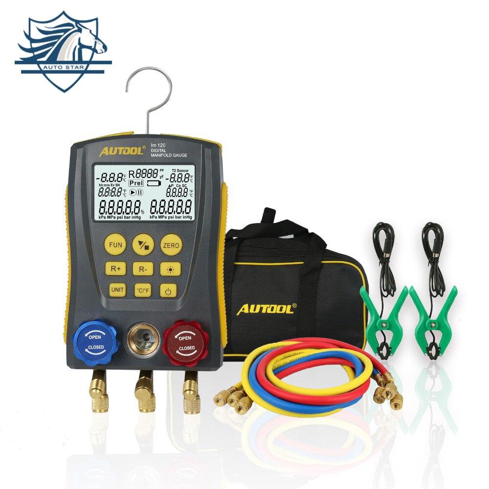 LM120 Mais Frio Médio Calibre Manómetro Digital Refrigerantion 2-Way Válvula de Pressão Testador ATAC Vácuo Kit de Ferramentas