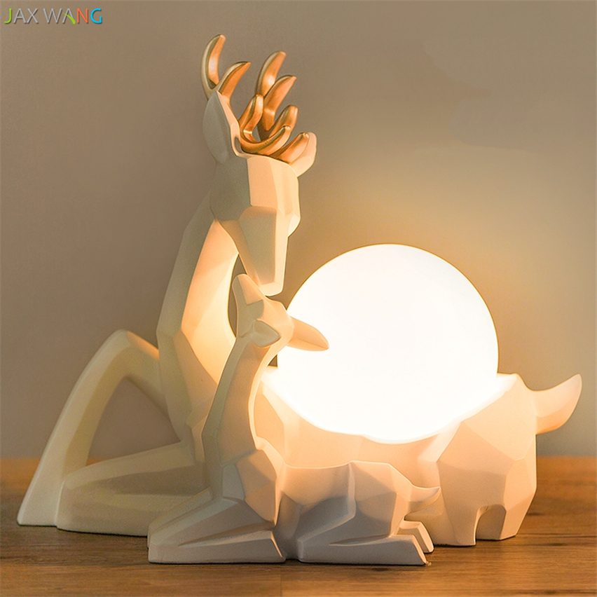 Nordic Origami Cute Elk LED Table Lamps Desk Lights Bedroom Princess Room Children Christmas Decor