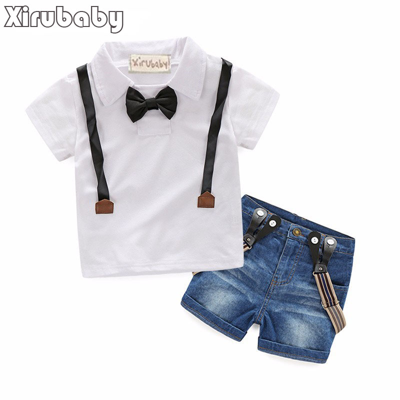 New Boys <font><b>Jeans</b></font> Set Solid Color White Blouse with Suspender Trousers Short Pant Children 2017 Summer Clothing Kids Cloth Set