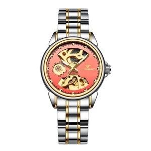 Image 3 - Nieuwe Mode Vrouwen Mechanisch Horloge Skeleton Ontwerp Top Brand Luxe Volledige Steel Waterdicht Vrouwelijke Automatische Klok Montre Femme
