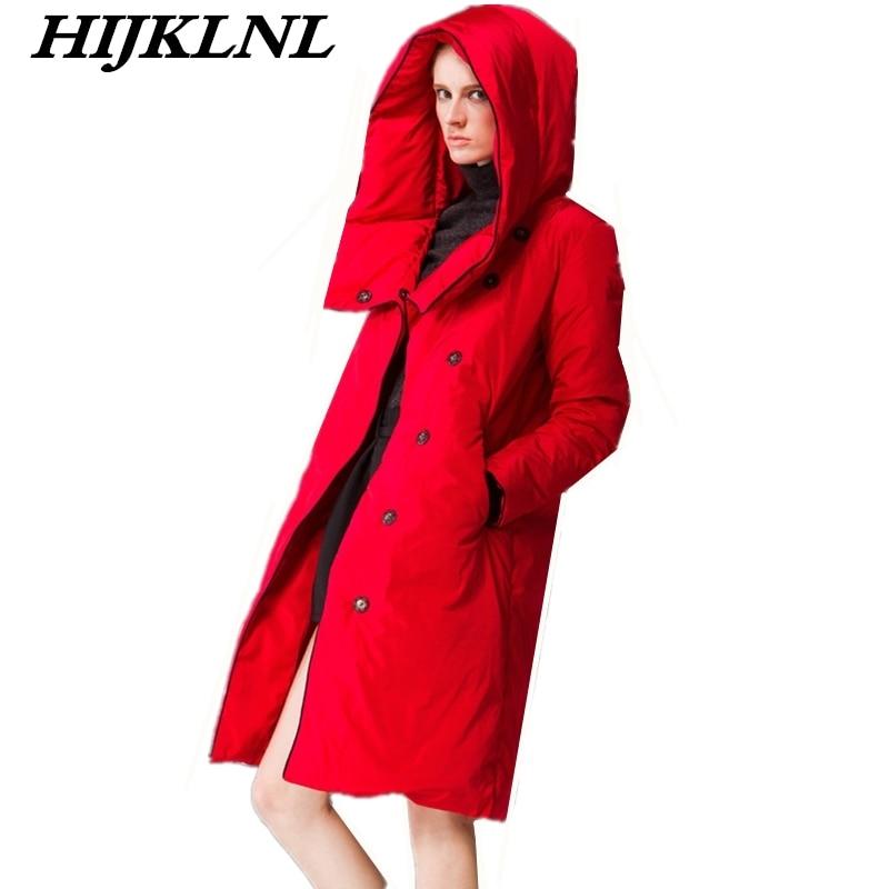 2019 Women Winter Down Coat Loose Large Size Long Down Jacket Women Solid Temperament Thicken Coat Fashion Warm Outerwear CW069