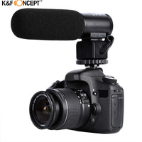 K F CONCEPT Interviewing Professional Wired Camera DV Microphone With Condenser Cartridge Windproof Cotton Mcrophone Stands